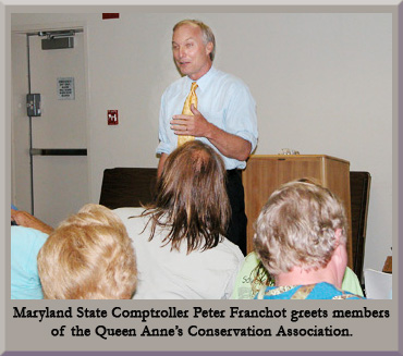 Maryland State Comptroller Peter Franchot greets members of the Queen Anne's Conservation Association.